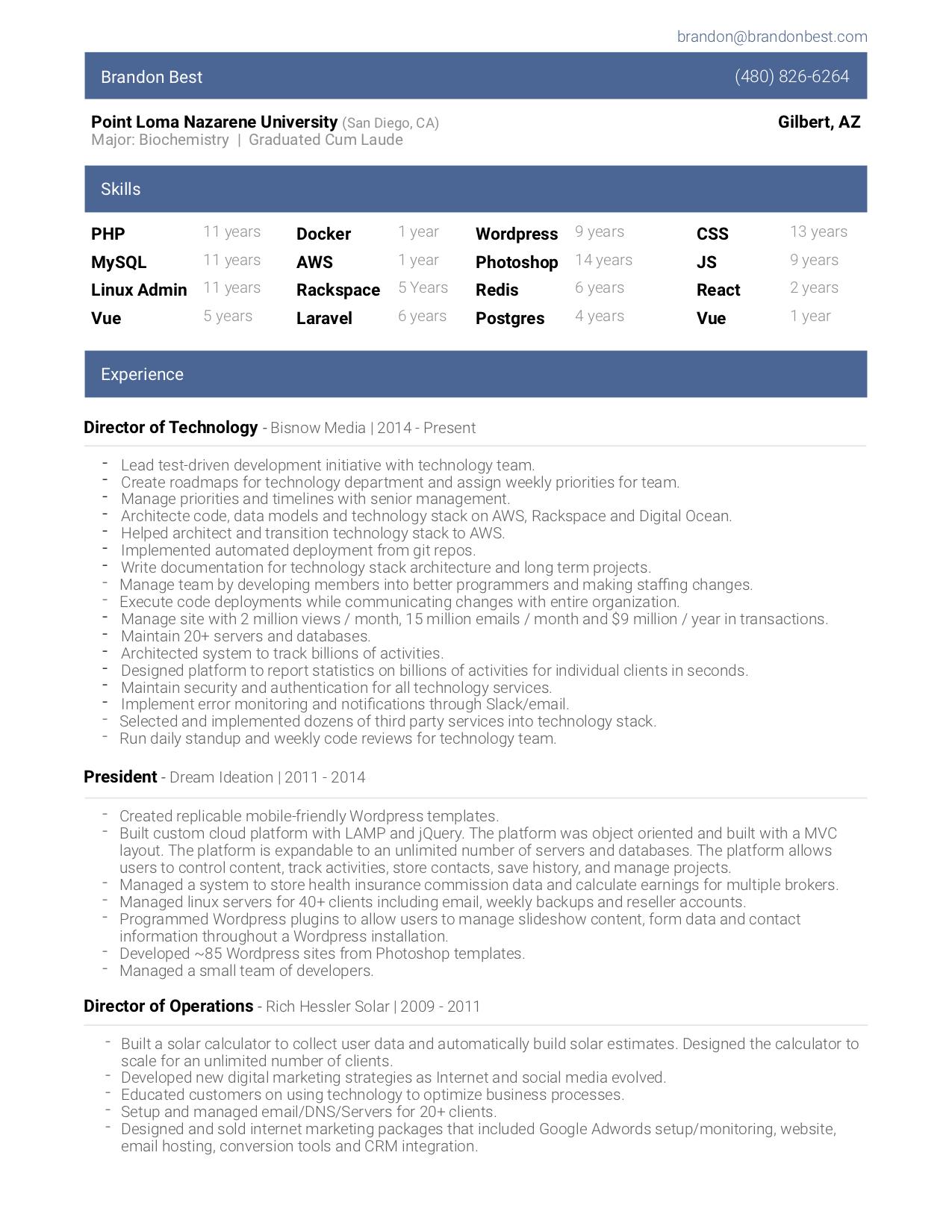 Brandon Best Resume